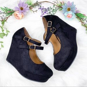 Soda | Black Suede High Wedge Pumps Mary Janes